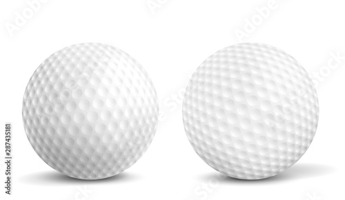 Valokuvatapetti New, clean golf balls with aerodynamics dimples closeup, front view, 3d realistic vector illustrations isolated on white background with shadows