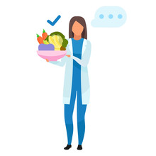 Doctor With Healthy Food Flat Vector Illustration. Nutritionist Holding Bowl With Fruits, Vegetables. Dietitian Offering Vegetarian Food Ingredients Isolated Cartoon Character On White Background