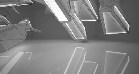 Abstract architectural white interior of a minimalist house with neon lighting. Drawing. 3D illustration and rendering.