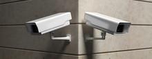 Surveillance Cam,  CCTV System On Marble Wall. 3d Illustration