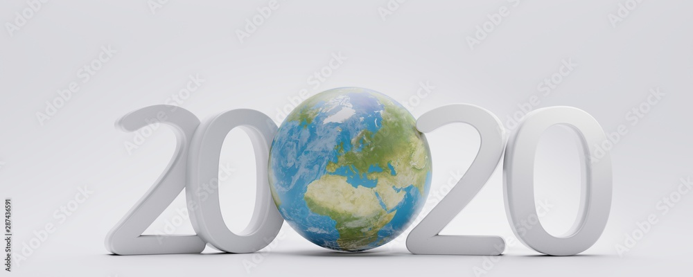 Fototapety, obrazy: 2020 fine letters with planet earth globe 3d-illustration. elements of this image furnished by NASA