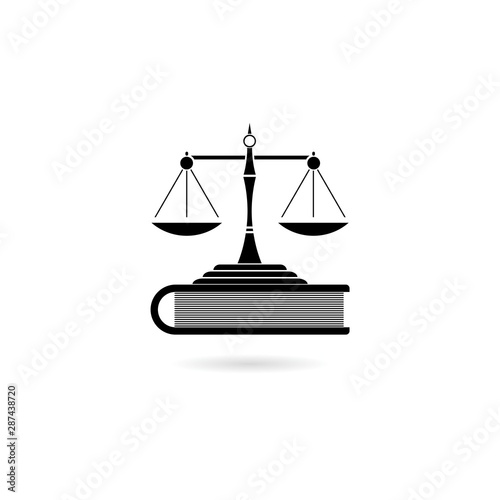 Scales of justice and book icon isolated Wallpaper Mural