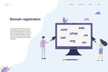 Domain Registration Web Page. Flat Vector Stock Illustration. People Choose A Domain Name. Find And Purchase Website Domain Name