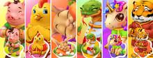 Funny Animals. Pig, Chicken, Rabbit, Snake, Unicorn, Tiger. 3d Vector Background