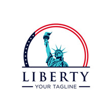 Liberty With American Flag Col...