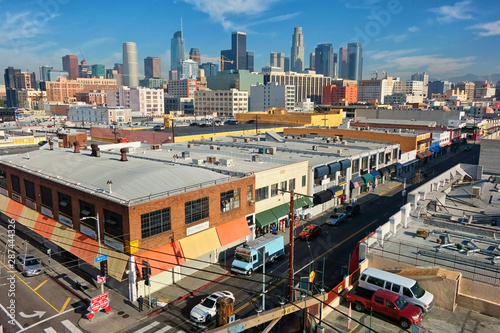 Downtown Los Angeles as seen from atop a parking structure in the fashion district Canvas Print
