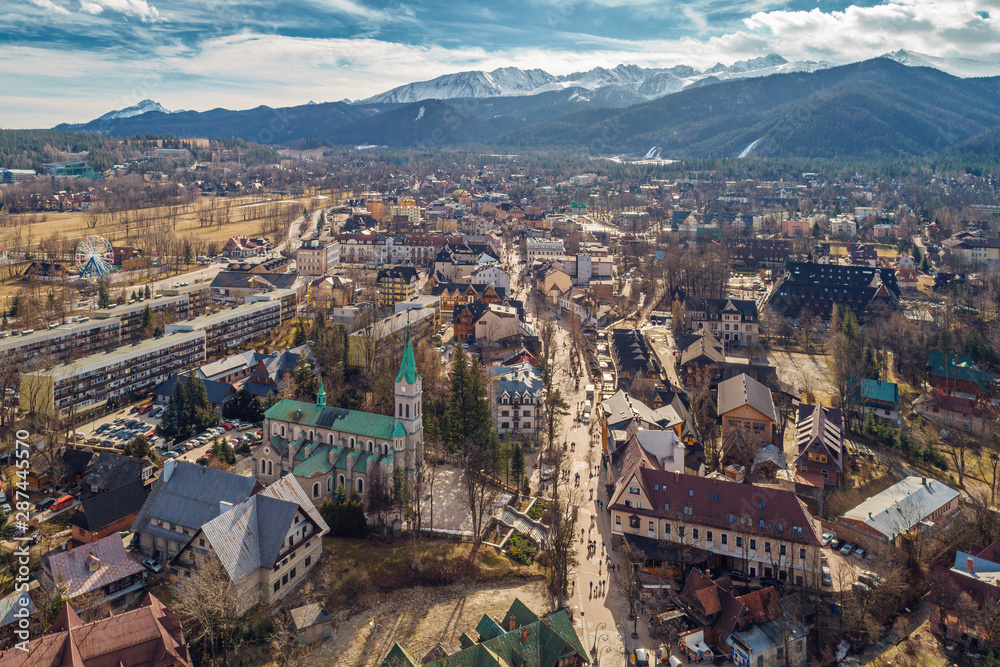 Fototapety, obrazy: Aerial view of Zakopane and Tatry mountains
