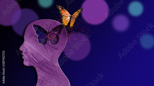 Obraz Graphic dreaming butterfly thought escapes iconic opening in mind - fototapety do salonu