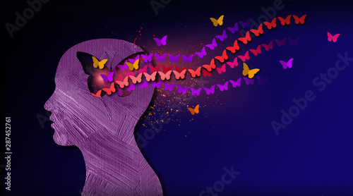 Obraz Graphic abstract stream of dreamlike butterflies flowing from iconic puzzle opening in mind - fototapety do salonu