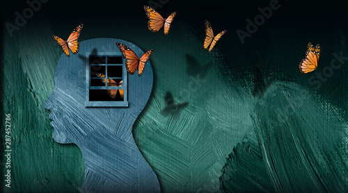 Obraz na plátně Graphic abstract of set free butterflies escaping open window of the mind