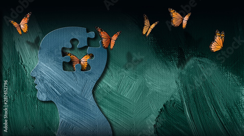 Graphic abstract of dreamlike butterflies flowing from iconic puzzle opening in Fototapet