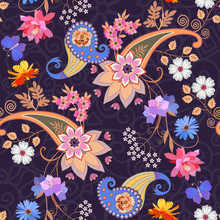 Seamless Ornate Pattern In Ethnic Style. Bright Multicolor Mandala, Paisley And Bouquets Of Flowers On Purple Lace Background. Print For Fabric, Wrapping Design.