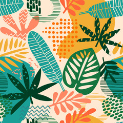FototapetaAbstract seamless pattern with tropical leaves. Hand draw texture.