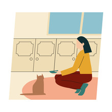 Woman With Her Cat. Woman Dressed It Trendy Clothes Spending Time With A Pet - Feeding Cat. Flat Vector Illustration