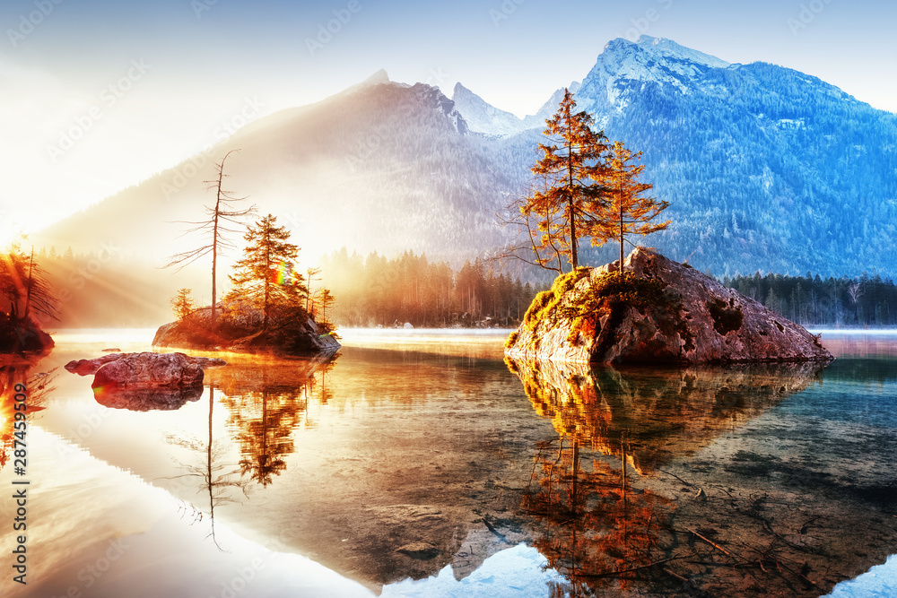Fototapety, obrazy: Lake Hintersee in Germany, Bavaria, National Park Ramsau in Alps. Beautiful autumnal Alpine landscape, amazing light during sunrise. Incredible seasonal autumn scenery. Famous landmark in Germany.