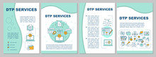 DTP Services Brochure Template Layout. Desktop Publishing Service. Flyer, Booklet, Leaflet Print Design With Linear Illustrations. Vector Page Layouts For Magazines, Reports, Advertising Posters