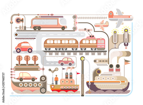 Art abstrait Travel and Transport vector design