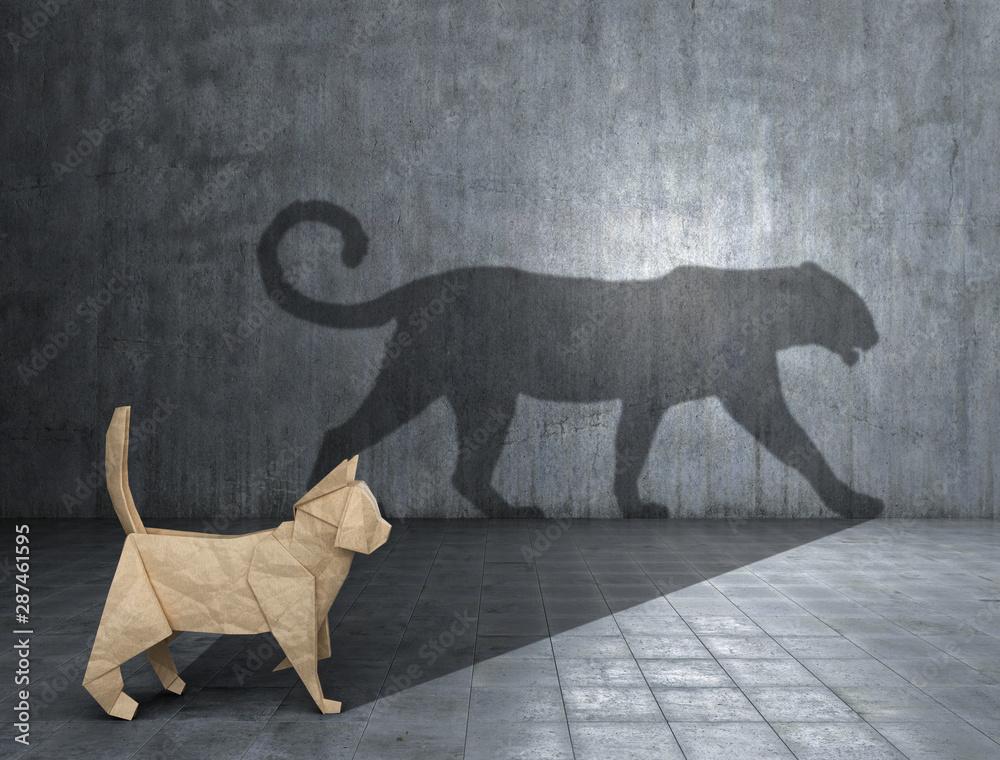 Fototapeta Concept of hidden potential. A paper figure of a cat that fills the shadow of a jaguar. 3D illustration