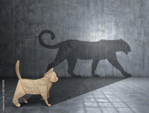 Obraz Concept of hidden potential. A paper figure of a cat that fills the shadow of a jaguar. 3D illustration - fototapety do salonu