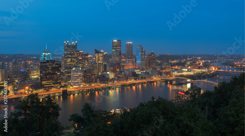 Fototapety, obrazy: Pittsburgh, Pennsylvania Skyline at night