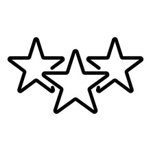 Three Stars Icon. Outline Three Stars Vector Icon For Web Design Isolated On White Background