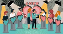 TV Dating Game Show. Cartoon Host Ask Question Contestant Answer. Man Bachelor Single Woman Participant. Love At First Sight. Romantic Date, Marriage, Relationship. Television Gameshow