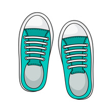 Fashion Sneakers Icon Isolated On White Background, Mint Color. Casual Youth Shoes. Vector Illustration