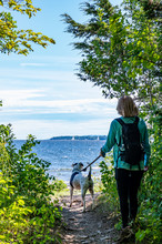 Woman With Dog Next To Lake
