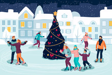 People Skating On Ice Rink Around Decorated Christmas Tree. Vector Flat Cartoon Illustration. New Year Holiday Event