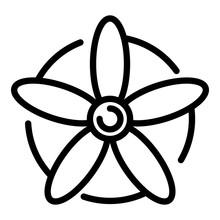 Avia Propeller Icon. Outline Avia Propeller Vector Icon For Web Design Isolated On White Background