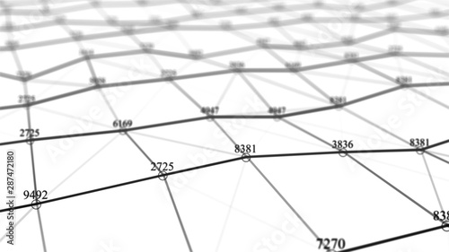 Network of connected dots and lines. Big data visualization. Wave of bright particles. Futuristic infographic. Abstract digital background. Grid illustration. Block chain concept. 3d rendering.