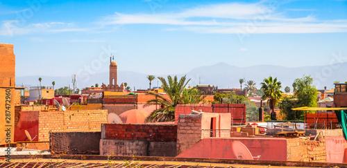 Foto auf AluDibond Himmelblau Panoramic view of Marrakesh and old medina, Morocco