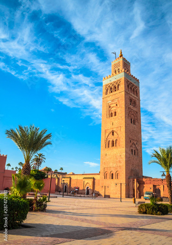 Recess Fitting Morocco Koutoubia Mosque minaret in old medina of Marrakesh, Morocco