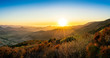 canvas print picture Setting Sun over Ocean, Valley Mountains