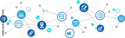 Obraz SEO icon concept: search engine optimization / analytics / online marketing – vector illustration - fototapety do salonu