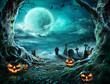 Leinwandbild Motiv Jack 'O Lantern In Cemetery In Spooky Night With Full Moon - Halloween