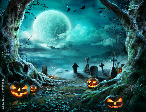 Wall Murals Equestrian Jack 'O Lantern In Cemetery In Spooky Night With Full Moon - Halloween