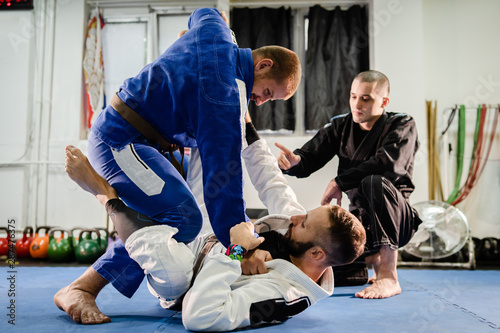 Photo Brazilian JIu Jitsu BJJ private class professor of the martial arts academy work