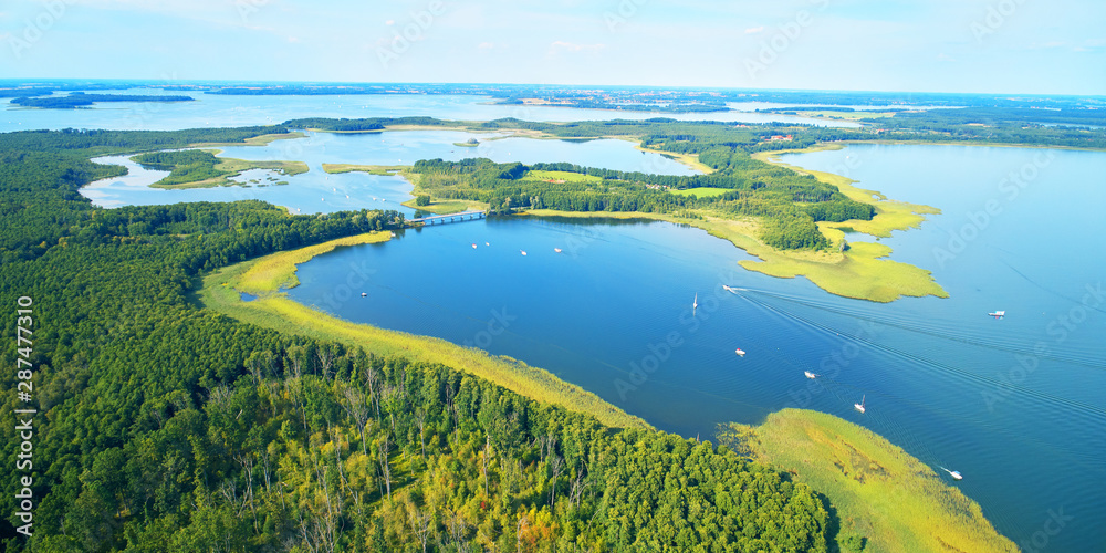 Aerial landscape from the drone- masuria lake district in Poland