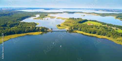 Foto auf Leinwand Blau Jeans Aerial landscape from the drone- masuria lake district in Poland