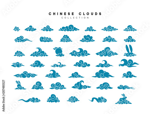 Collection of blue clouds in Chinese style. Fototapete
