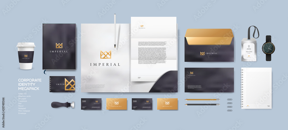 Fototapeta Corporate identity premium branding design. Stationery mockup vector megapack set. Template for business or finance company. Folder and A4 letter, visiting card and envelope based on modern gold logo.
