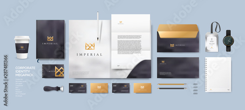 Obraz Corporate identity premium branding design. Stationery mockup vector megapack set. Template for business or finance company. Folder and A4 letter, visiting card and envelope based on modern gold logo. - fototapety do salonu