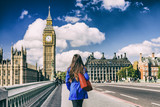 Fototapeta London - Brexit UK London city lifestyle background for EU UK concept. Commuter walking away on street.