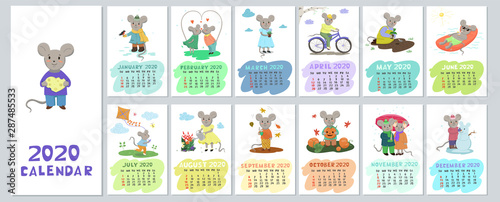 mata magnetyczna Calendar 2020 with cute cartoony mice. Vector graphics.