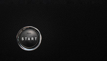 Start Button In A Modern Car, Button On Black Textured Surface
