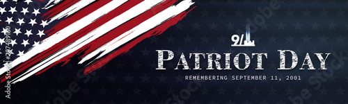 Fotografia  September 11, patriot day background, we will never forget, united states flag p