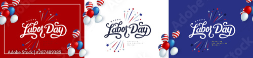 Happy labor day hand lettering background banner template decor with balloon flag of america Fototapet