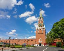 Spasskaya Tower Viewed Inside  Kremlin, Moscow, Russia.