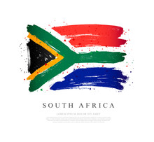 Flag Of South Africa. Brush St...